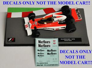 DECALS for James Hunt 1976 McLaren M23 Marlboro 1:43 Formula 1 Car Collection