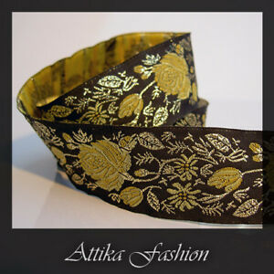 Vintage Woven JACQUARD RIBBON TRIM Floral Embroidery 1m Edging Crafting