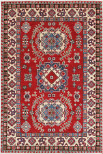 3x5 Hand-Knotted Kazak Carpet Tribal Red Fine Wool Area Rug D57177