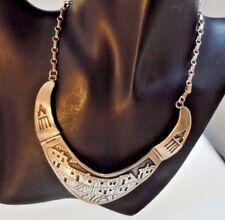 Fabulous Vintage Navajo Suzie James Signed Sterling Overlay Pueblo Necklace