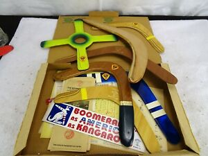 """Vintage """"Boomerang Man"""" 1983 lot of 7 RH boomerangs with documentation & package"""