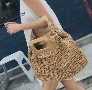 casual rattan large capacity tote for women wooden handbags summer beach straw b