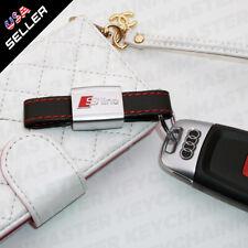 Universal Audi S-LINE Genuine Leather Keychain Elegant Strap Zinc Alloy Ring