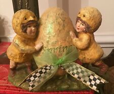 "Kd Vintage ""Spring Egg� twins Chicks w/ MacKenzie Childs Courtly Check Ribbon"