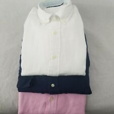 NEW Men's  Ralph Lauren Button-down Linen Shirt Big&Tall White Pink Navy