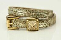 Michael Kors Armband Armreif Leder Goldfarben VINTAGE  Schmuck + BOX
