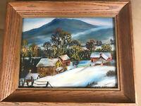 """Geo Springer 1970 """"Village Scene In Winter"""" Reverse Oil Painting - Signed/Framed"""