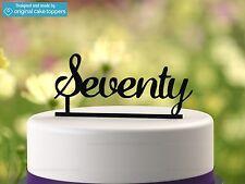 """Seventy"" - Black - 70th Birthday Cake Topper  - Made by OriginalCakeToppers"