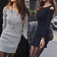 Women`Winter Knitted Jumper Dress Sweater Tops Pullover Knitwear Long Tops Dr Gf