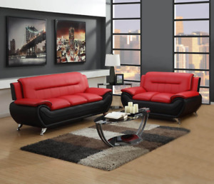 NEW 2PC Sofa Couch Loveseat Set Black Red Faux Leather Modern Living Furniture
