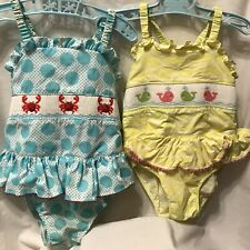 anavini  <Set of 2 > smocked girl beach bubble sun suits sz 5 Crab & Whales
