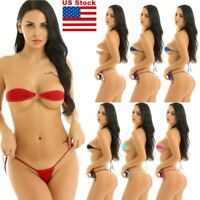 Swimwear Women Tube Top Bikini Bra Micro G-string Thong Lingerie Underwear US