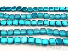 25 6 x 6 x 3 mm CzechMates Two Hole Tile Beads: Mirror - Teal