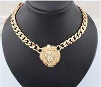 Fashion Jewelry Lion Statement Head Women Choker Bib Gold Pendant Necklace Chain