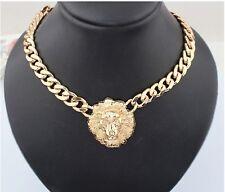 Fashion Jewelry Lion Pendant Statement Head Women Choker Bib Gold Necklace Chain