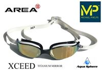 MP Michael Phelps Xceed Swimming Goggles White, Gold Titanium Mirror Racing Gogg