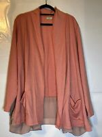 LOGO Lounge Dusty Rose Open Cardigan With Pockets And Lace Size 2X