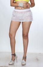 Sheer Net Lace Skirt White Short See Through Women's Micro Mini Skirt 6-24