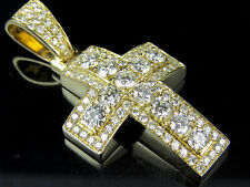 "Unisex 14K Yellow Gold Puff Genuine Diamond Mini Cross Charm Pendant 1.5"" 3.38ct"