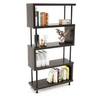 5 Tier Bookshelf Organizer Bookcase Leaning Shelving Storage Display Rack Shelf