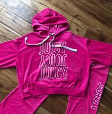 Juicy Couture Suit Velour Cropped Hoodie Jacket & Pants Pink S M NWT