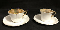 Lot of 2 Vintage White with Gold Leaf Interior Demitasse Tea Cups & Saucers