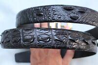 Genuine Alligator Crocodile Belt SKIN Leather Men's BLACK - W 1.3''