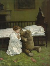 ANTIQUE TEDDY BEAR PRINT BEDTIME PRAYER CHILD CRIB VINTAGE CANVAS ART
