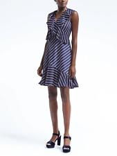Banana Republic Stripe Cross-Flounce Fit-and-Flare Dress,Blue SIZE 10T   #797579