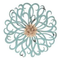 """Vintage Style 12"""" Rustic Blue & Burlap Flower Metal Wall Sculpture Shabby Chic"""