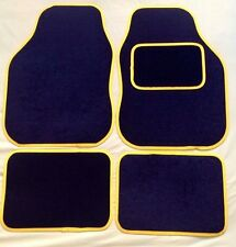 UNIVERSAL CAR FLOOR MATS- BLACK WITH YELLOW TRIM FOR MG MG3 MG6 MGC ZR ZT ZS TF