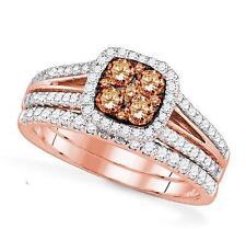 14K Rose Gold & Chocolate Brown Diamond Engagement and Wedding Ring Set 1.0ct