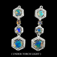 Unheated Round Fire Opal Rainbow Full Flash 7mm Cz 925 Sterling Silver Earrings