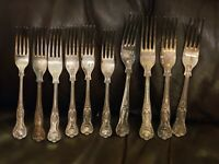 KINGS PATTERN - SET of DINNER ? FORKS - SILVER PLATED EPNS A1 SHEFFIELD X 10
