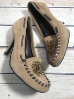 Chinese Laundry Size 8.5 Brown Tan Suede Leather Heel Beaded Loafer Slip On Pump