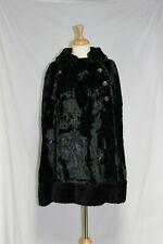 Vintage Black Faux Fur Cape Mod GOGO 1960s Dress Jacket  Eagle/ Anchor Buttons