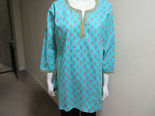 New India 100% Cotton Women Ladies Printed Blue Top Long Sleeves