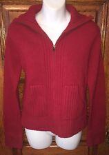 Womens Gap Red Full Zip Wool Cardigan Sweater Sz Medium, Nice!!