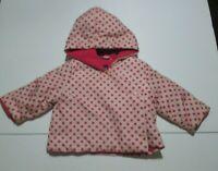 INFANT GIRLS BABY GAP PINK POLKA DOT FLEECE LINED KIMONO JACKET SIZE 3-6 MON #2