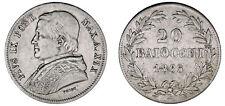 20 BAIOCCHI. Ag. PAPAL STATES-ESTADOS PONTIFICIOS. PIUS IX. 1865. VF/MBC.
