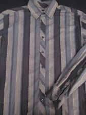 Ben Sherman Men Button Front Long Sleeve Designer Stripe Shirt Large L