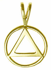 AA Alcoholics Anonymous Classic Symbol Pendant, #01-1 Med. Size, 14k Gold