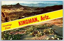 """Greetings from Kingman, Arizona"" Mohave County Chrome Postcard Unused"