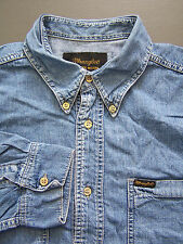 Wrangler Denim Camisa para hombre de manga larga buttondown Azul Grande Vintage # lshz 381