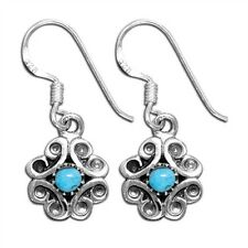 Sterling Silver Genuine Turquoise Circle Stone Inlay Hook Earrings New