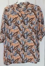 Mens Hawaiian Tropic Shirt 2XL Muliti-Color 100% Rayon Left Pocket Leafy