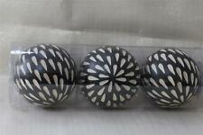 DECORATIVE FLORAL ORBS VASE FILLERS ACCENT BALLS SPHERES - BLACK/BEIGE - 3PC