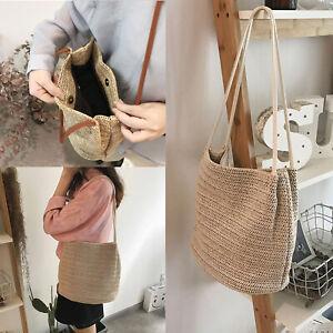 Ladies Summer Straw Bag Rattan Wicker Handbag Crossbody Tote Beach Shoulder Bag