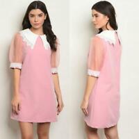 ROSE PINK MOD SHIFT 60S STYLE MINI DRESS MEDIUM M VINTAGE NEW NWT HOLIDAYS