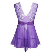 Women Sexy Lingerie Mesh See-through Mini Dress Sleepwear Nightwear G-string Set